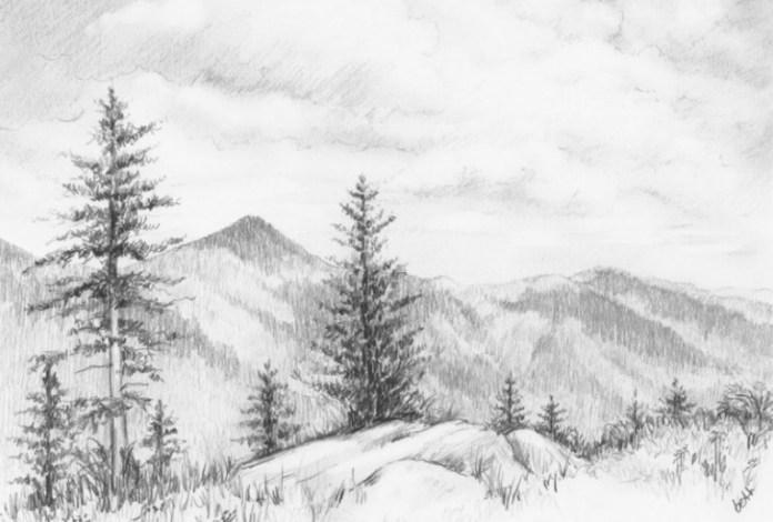 12 Contoh Lukisan Pemandangan Alam Paling Indah Dengan Menggunakan Pensil Seruni Id