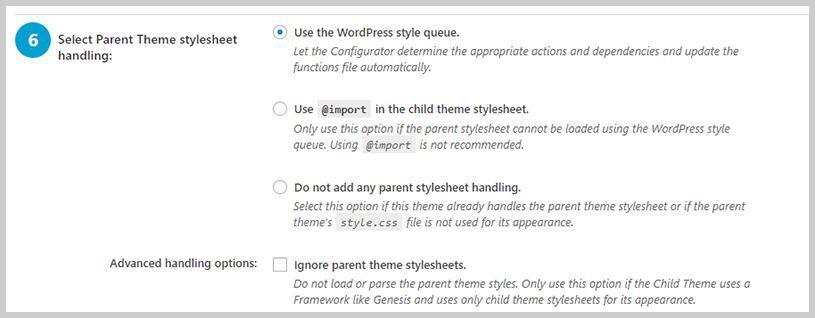 Paso 6 de Child Theme Configurator