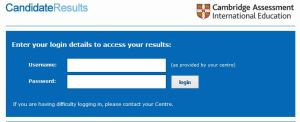 CIE students result login page