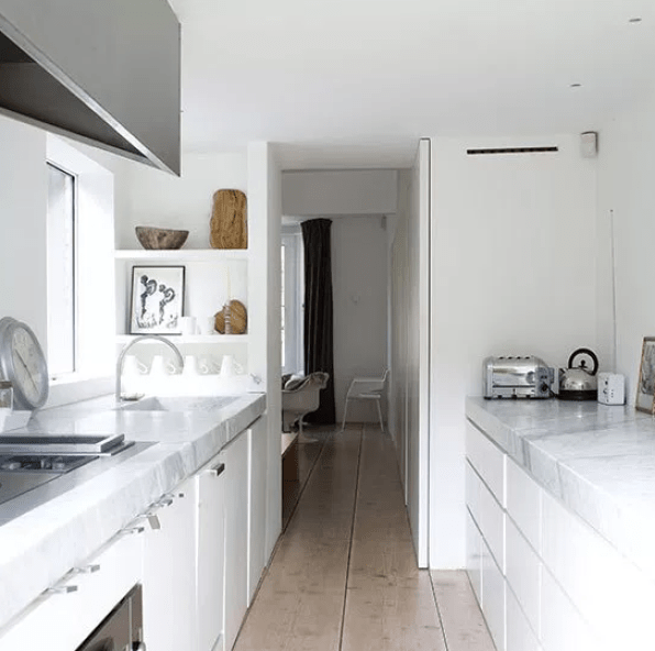 White Galley Kitchen With Wood Flooring by pinterest