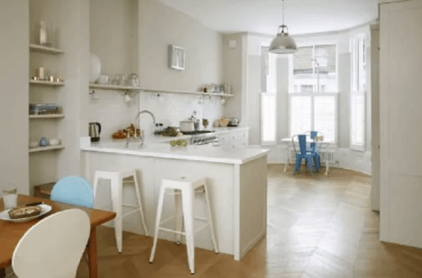 White L Shaped Kitchen Design