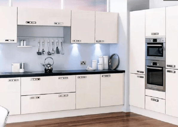 All-White L-Shaped Kitchen Design
