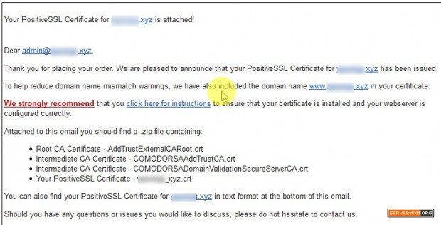 certificate file sent to email