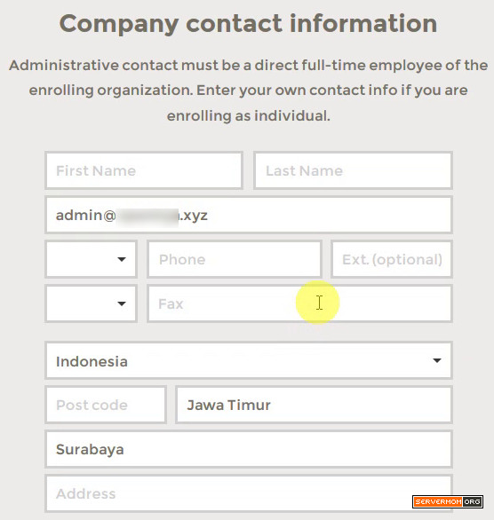 fill in personal details