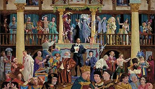 all the world's a stage color painting various shakespeare characters