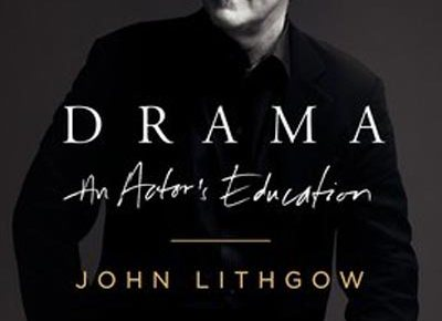 john lithgow seated smiling book cover drama an actor's education black and white