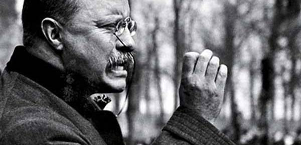 theodore roosevelt profile speaking black and white right hand gesture