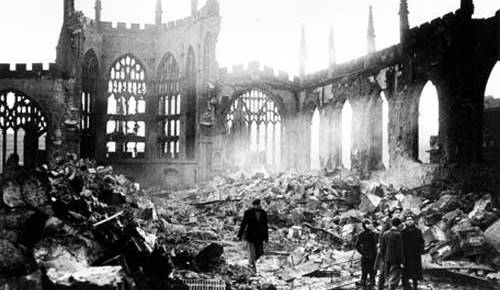 coventry cathedral destruction black and white nazi bombing responders on scene