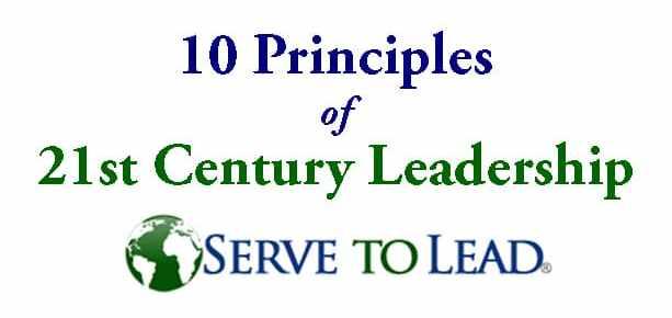 serve to lead 21st century leadership logo 10 principles 21st century leadership blue and green white background rectangle