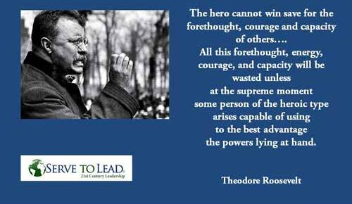 theodore roosevelt speaking black and white inset quotation hero requires forethought quotation from serve to lead