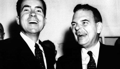 richard nixon thomas dewey black and white laughing