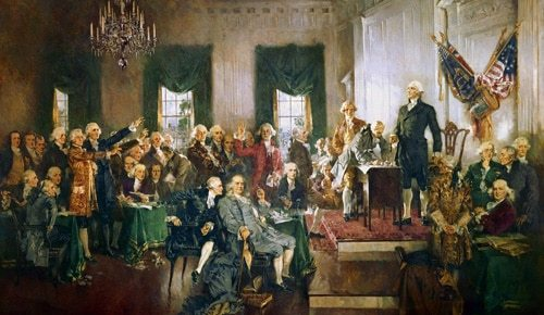 constitution signing 1787 color painting stylized george washington standing american flag franklin founders