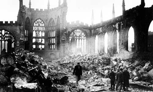 Coventry Cathedral ruins Nazi bombing 1940 www.servetolead.org