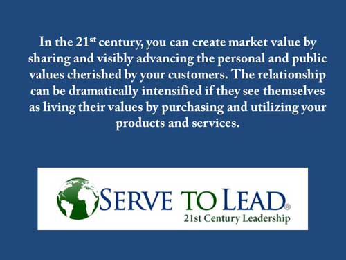 Serve to Lead quotation values create value www.servetolead.org
