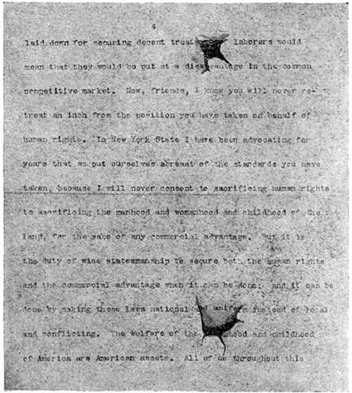 Theodore Roosevelt speech bullet holes 1912 www.servetolead.org