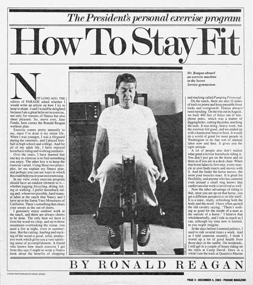 reagan how to stay fit parade magazine at www.servetolead.org