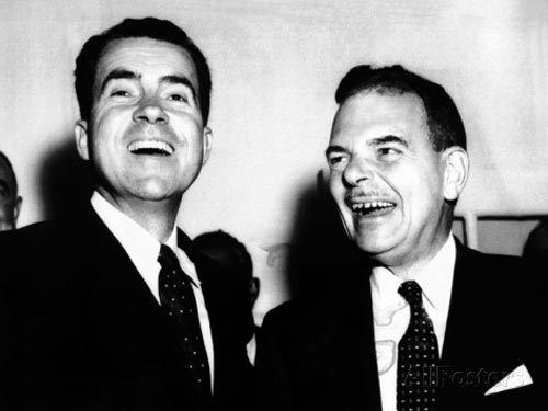 Vice President Nixon New York Governor Thomas Dewey laughing at www.servetolead.org