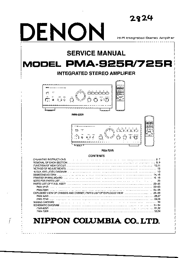 service manual for Denon Denon PMA-925R 725R Denon PMA