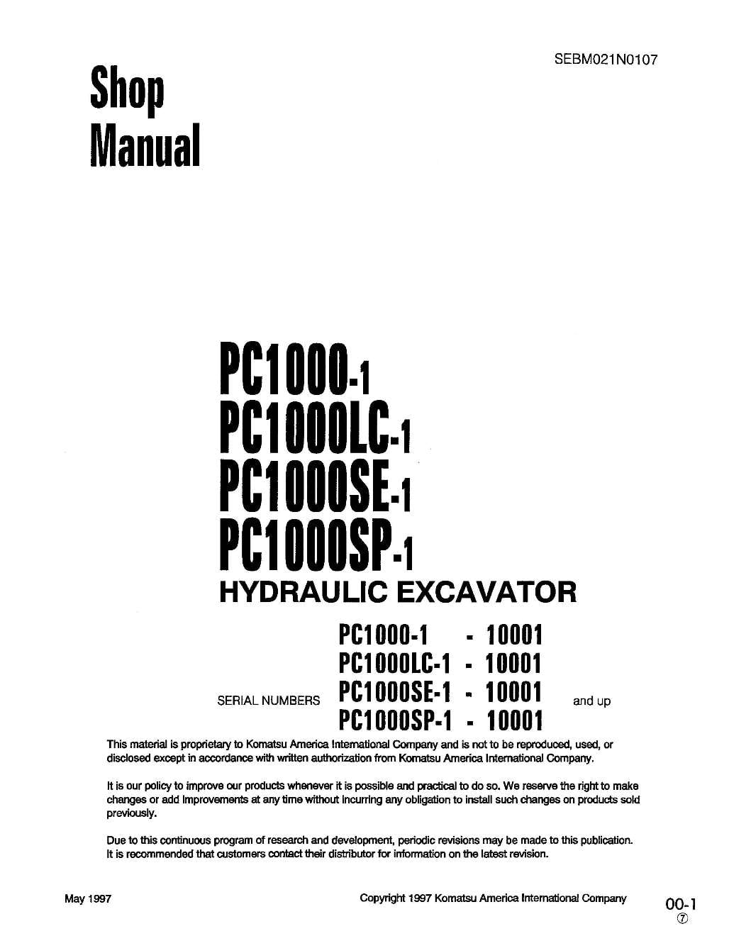Komatsu PC1000-1/PC1000LC-1/PC1000SP-1/PC1000SE-1