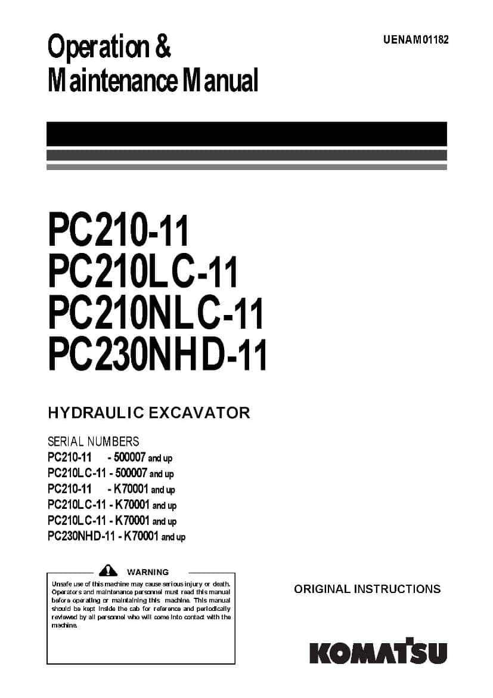 Komatsu PC210-11/ PC210LC-11/ PC210NLC-11/ PC230NHD-11