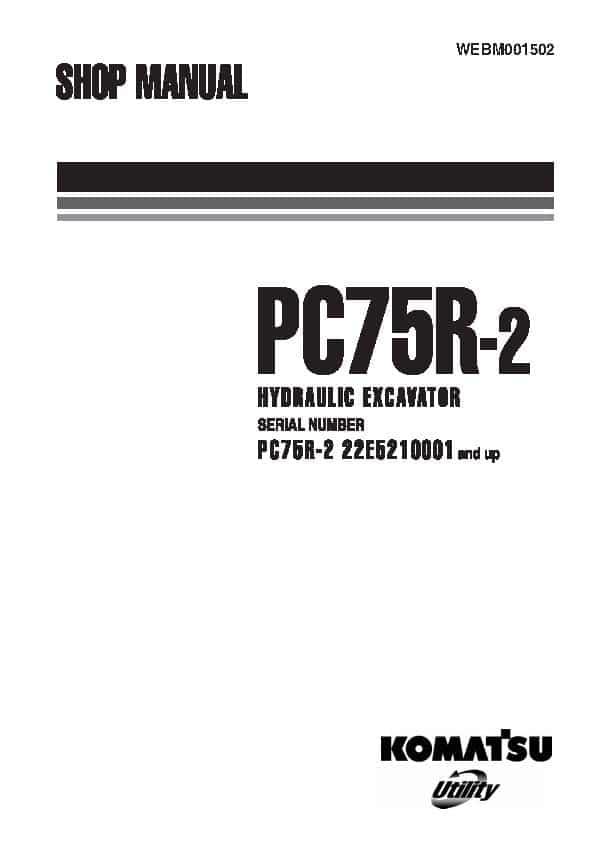 Komatsu PC75R-2 Hydraulic Excavator Workshop Repair