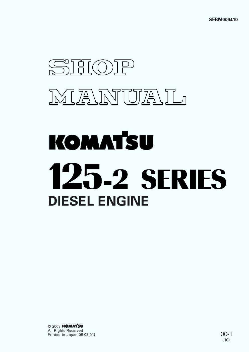 Komatsu DIESEL ENGINE 125-2 SERIES Workshop Repair Service