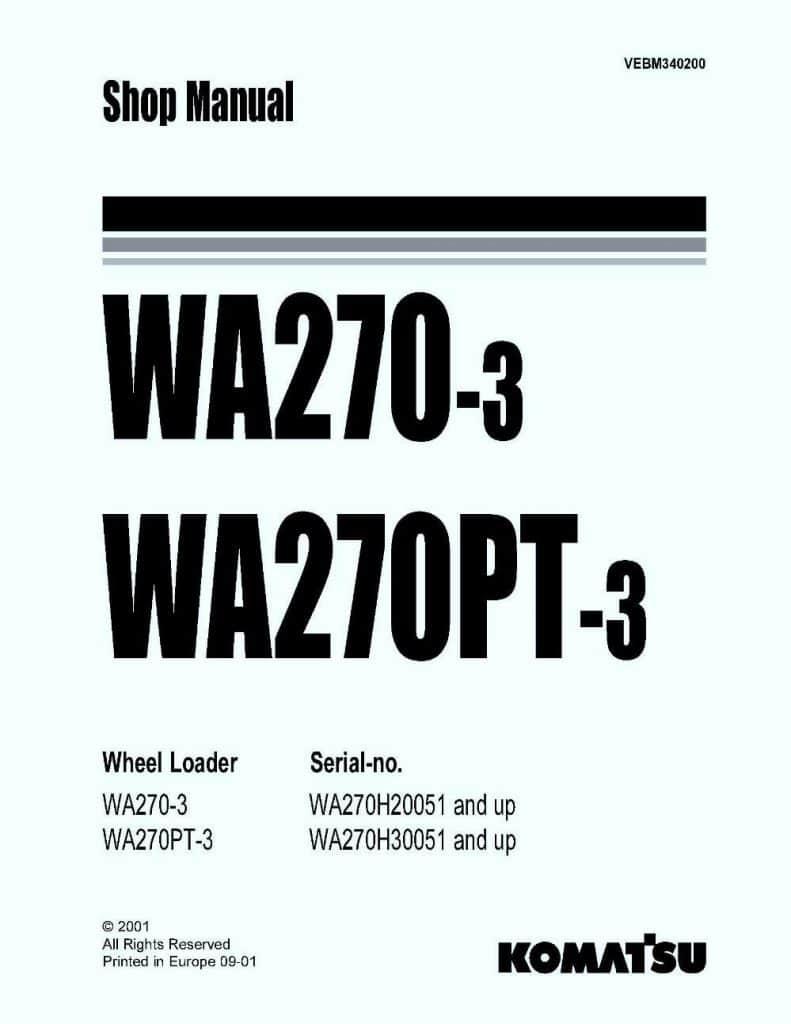 Komatsu WHEEL LOADER WA270-3 WA270PT-3 Workshop Repair