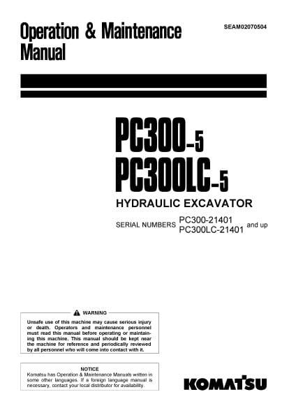 Komatsu PC300-5/ PC300LC-5 Hydraulic Excavator Operation