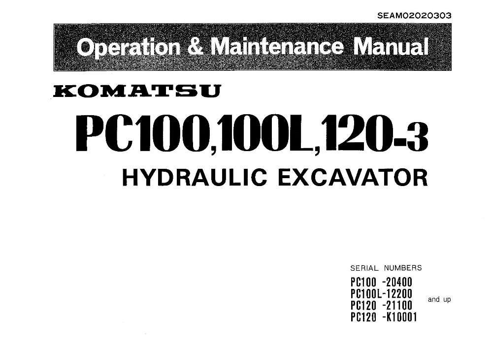 Komatsu PC100-3/ PC100L-3/ PC120-3 Hydraulic Excavator