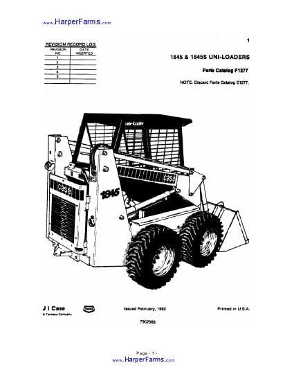 CASE 1845-1845S UNI-Loaders Part book manual PDF Download