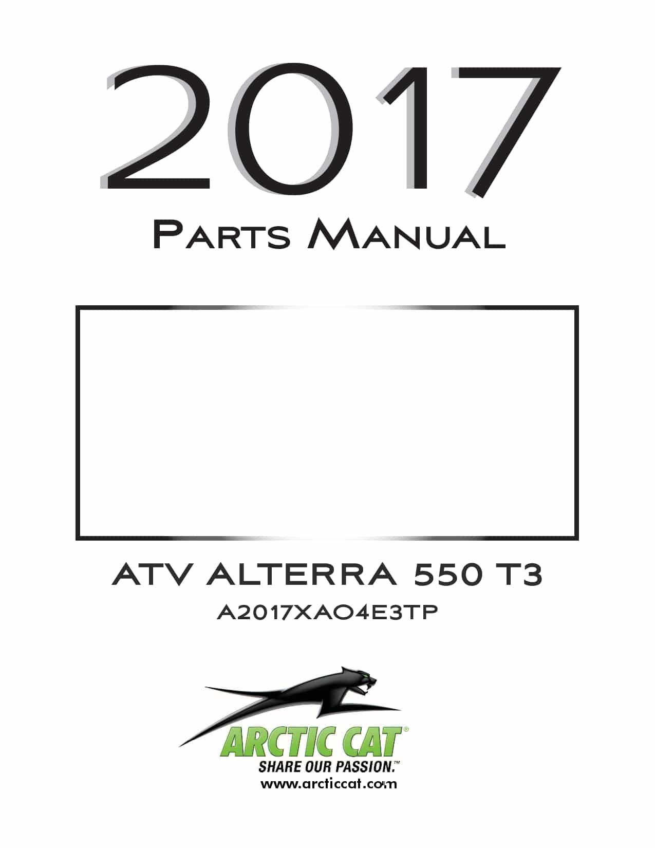 ARCTIC CAT 2017 ATV Alterra 550 T3b black part manual PDF
