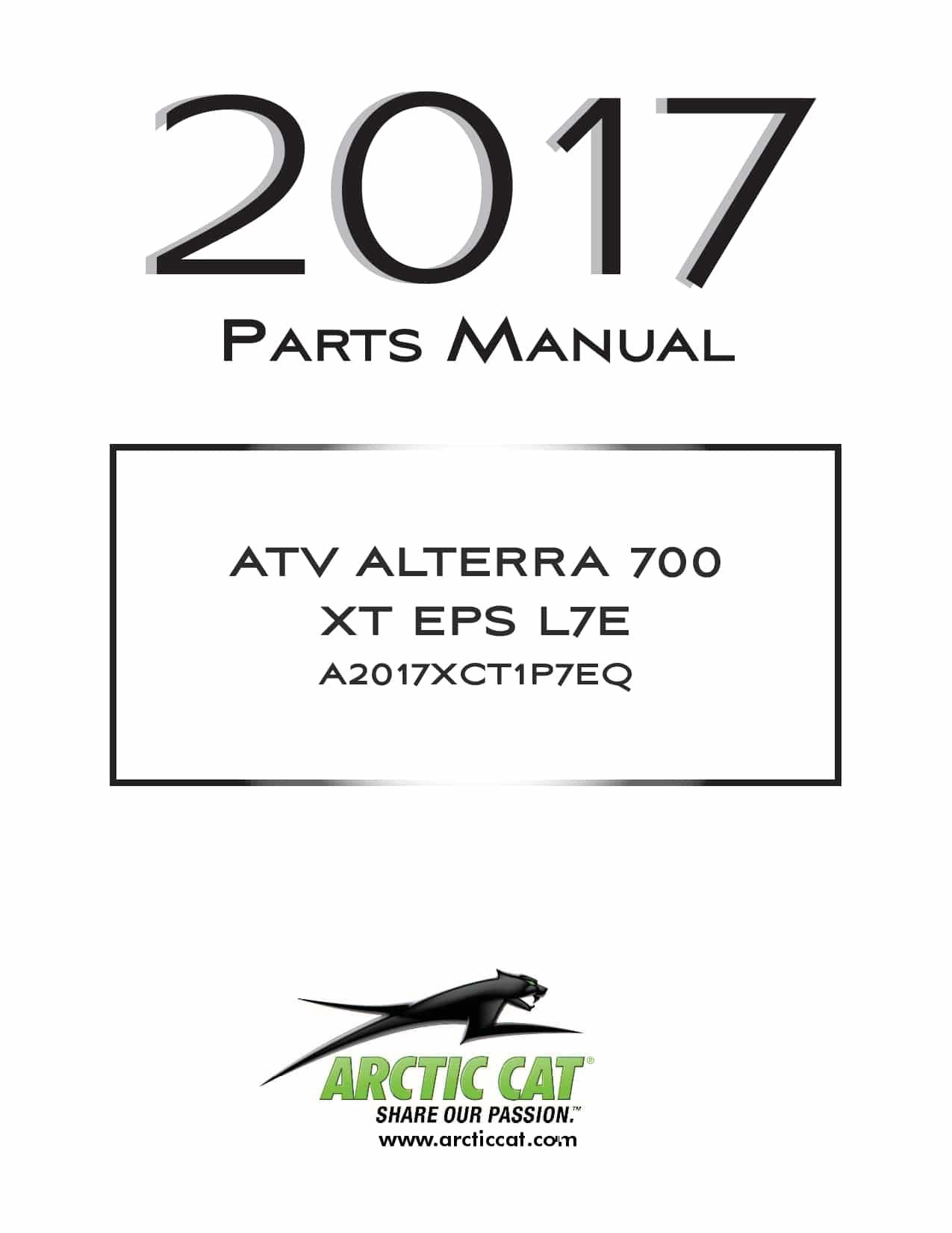 ARCTIC CAT 2017 Alterra 700 XT EPS L7e black part manual