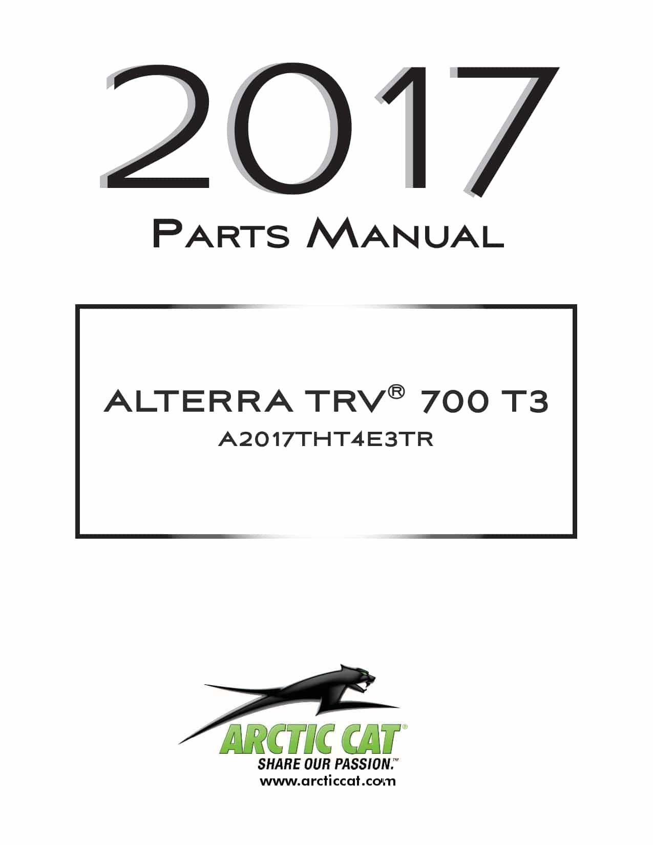 ARCTIC CAT 2017 Alterra TRV 700 T3b red part manual PDF
