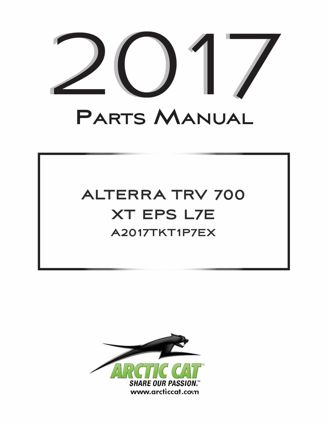 ARCTIC CAT 2017 Alterra TRV 700 XT EPS L7e green part