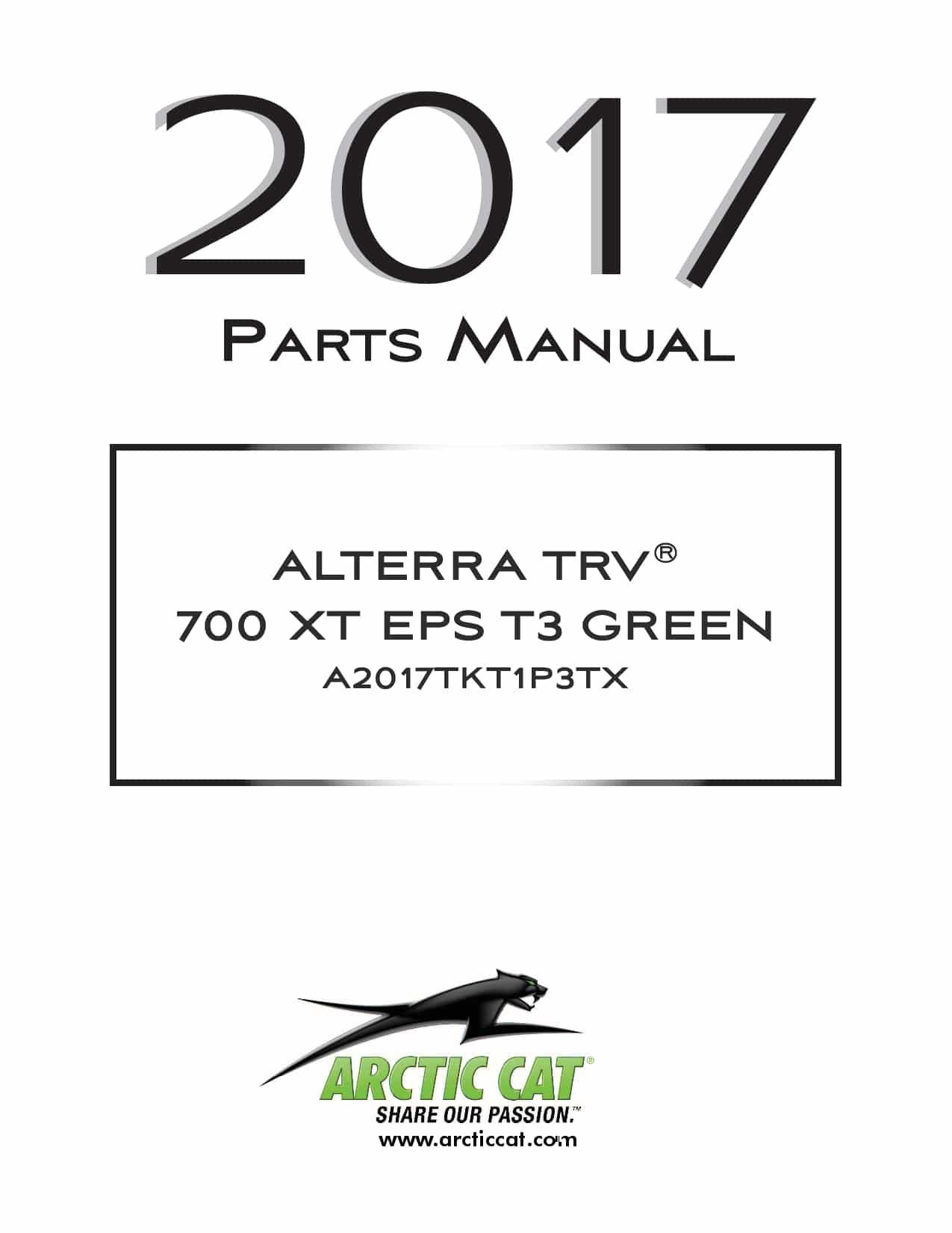 ARCTIC CAT 2017 Alterra TRV 700 XT EPS T3b green part