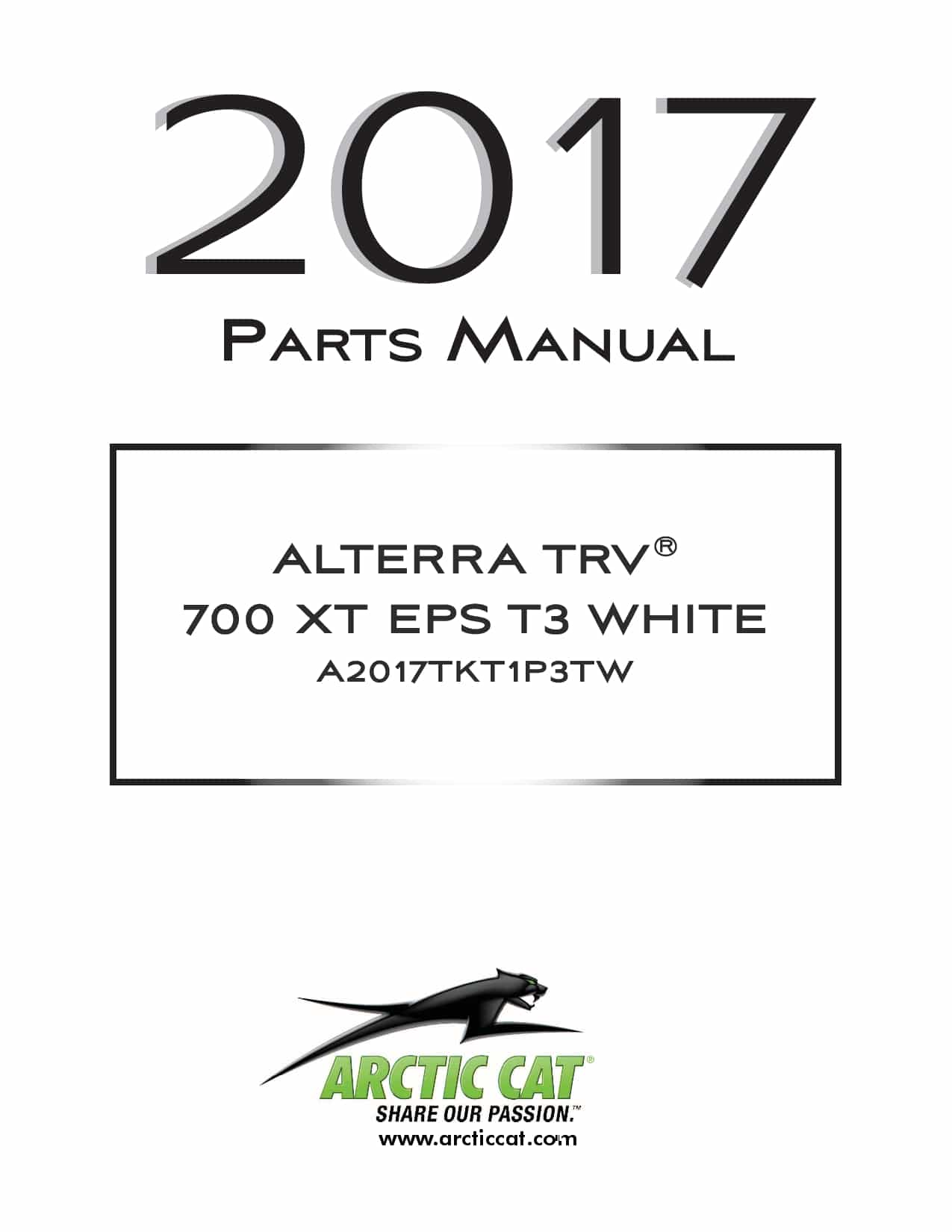 ARCTIC CAT 2017 Alterra TRV 700 XT EPS T3b white part