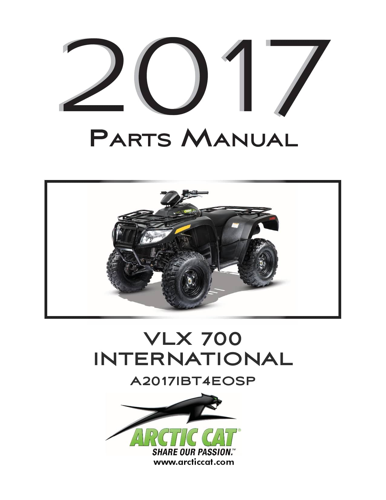 ARCTIC CAT 2017 VLX 700 Black International part manual
