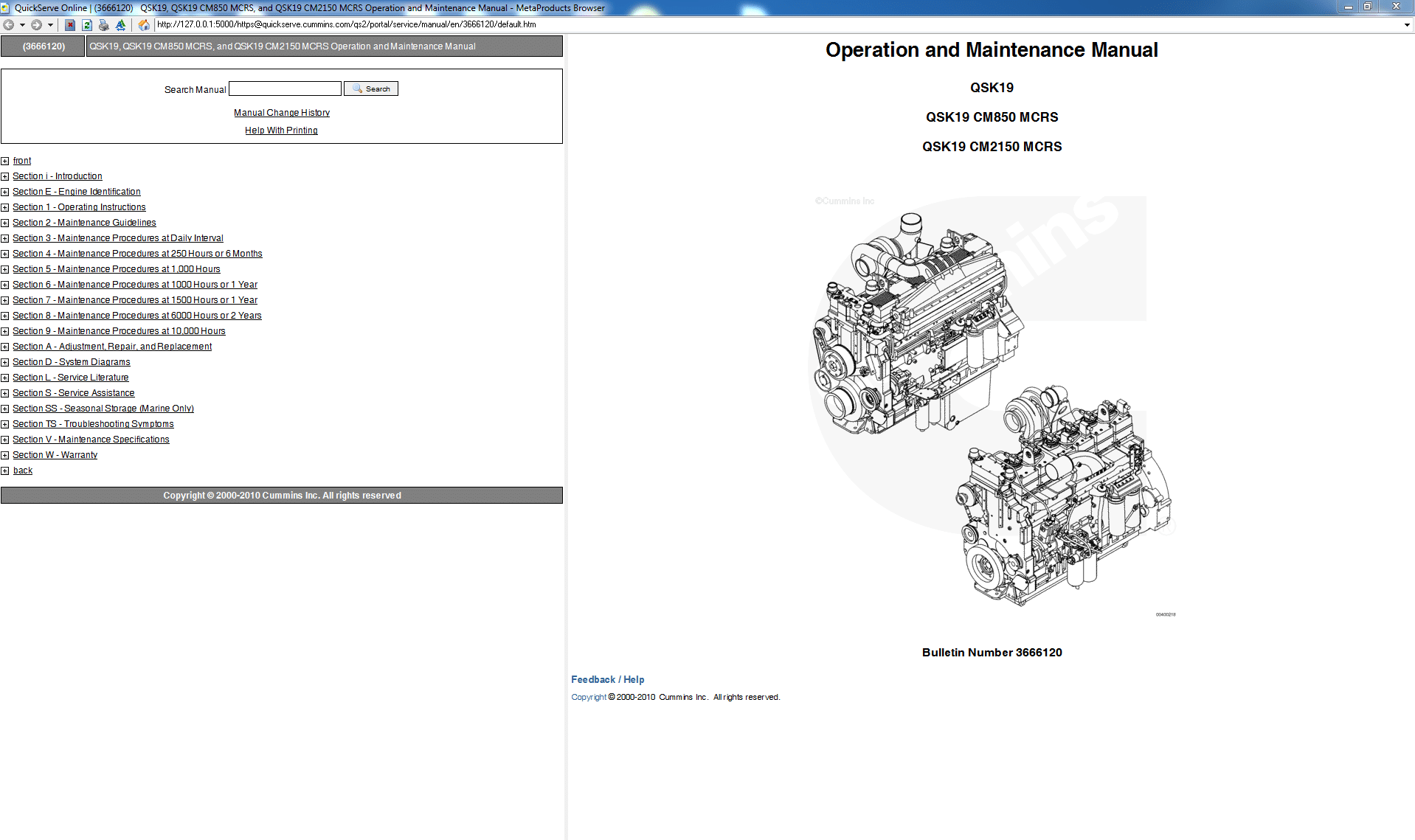 Cummins Operation and Maintence Manual QSK19 CM850 MCRS