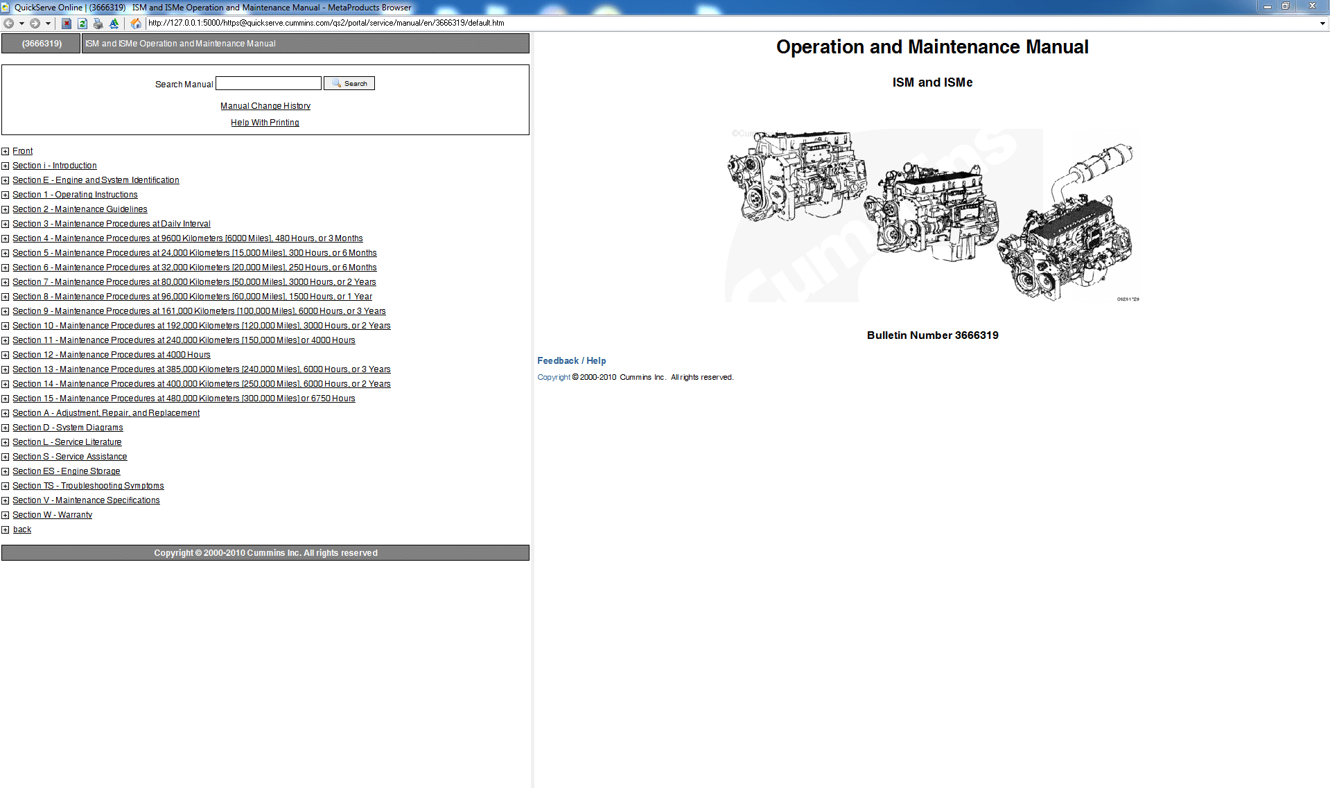 Cummins Operation and Maintence Manual ISM and ISMe Engine