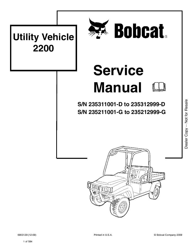 Bobcat 2200 Utility Vehicle Service manual PDF Download