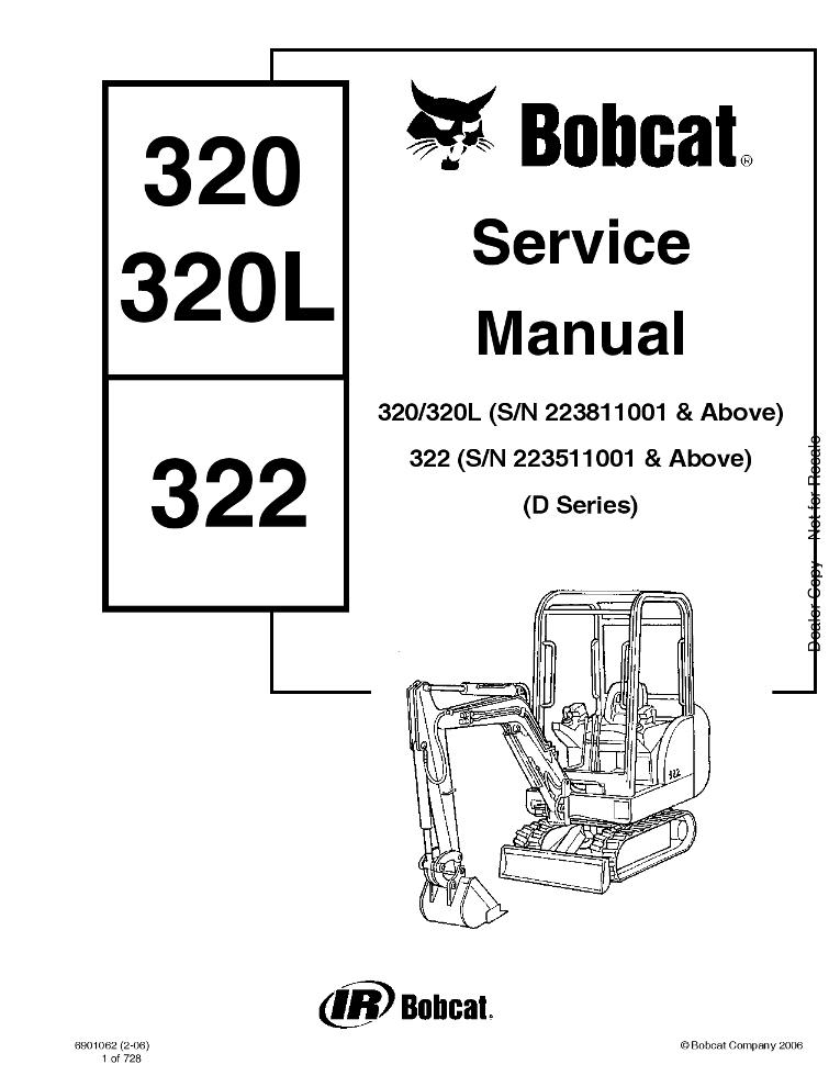Bobcat 320 320L 322 Excavator Service manual PDF Download