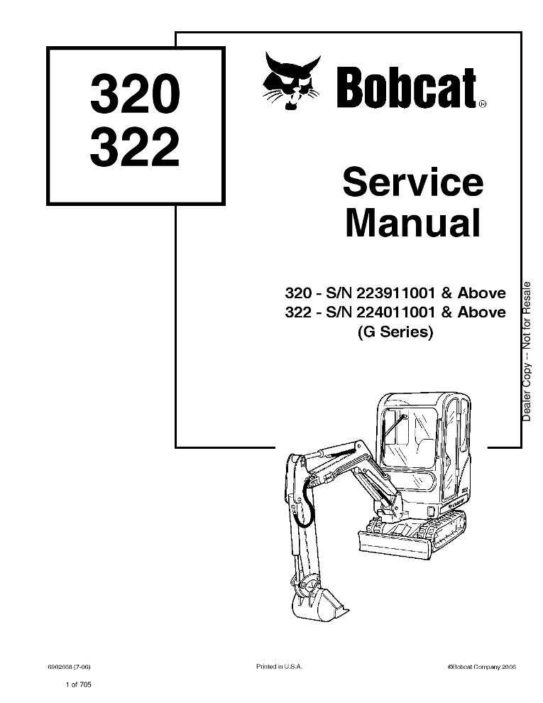 Bobcat 320 322 Excavator Service manual PDF Download