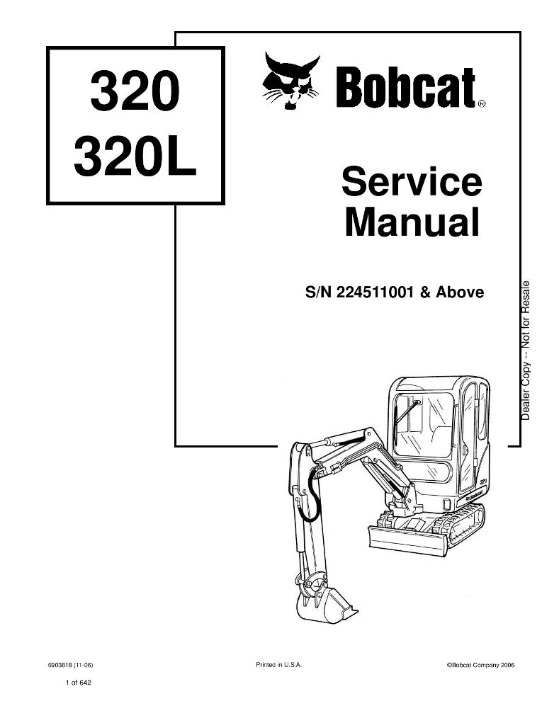 Bobcat 320 X320L Excavator Service manual PDF Download