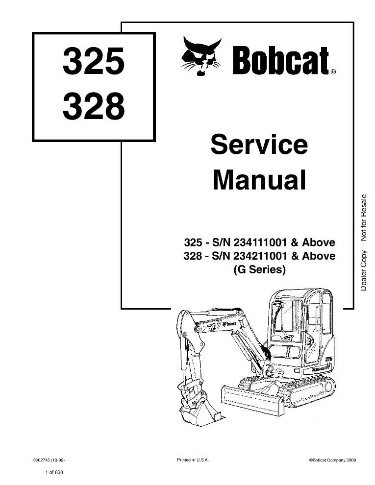 Bobcat 325 328 Excavator Service manual SN 232511001