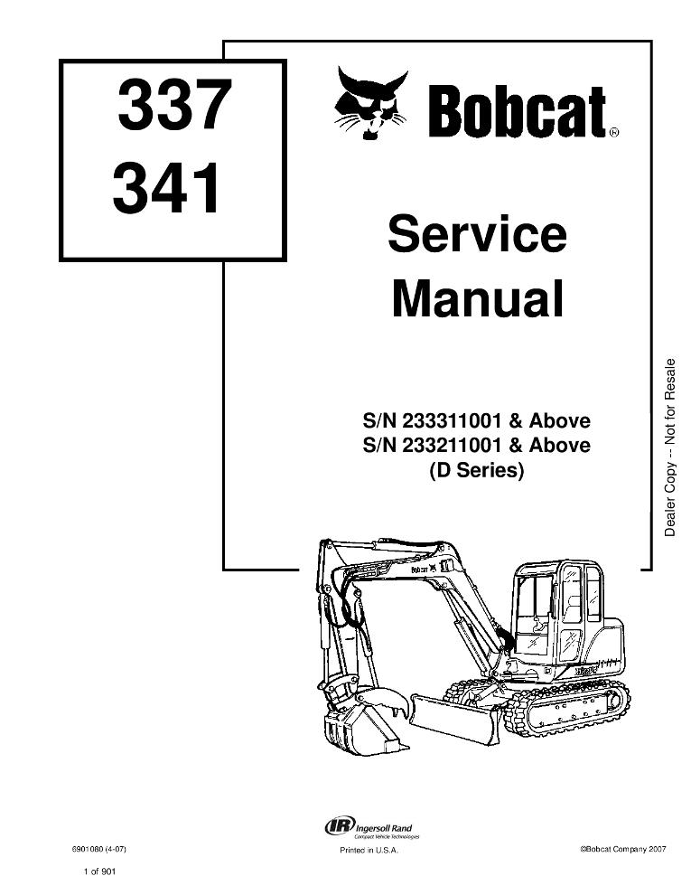 Bobcat 337 341 Excavator Service manual (D Series) PDF