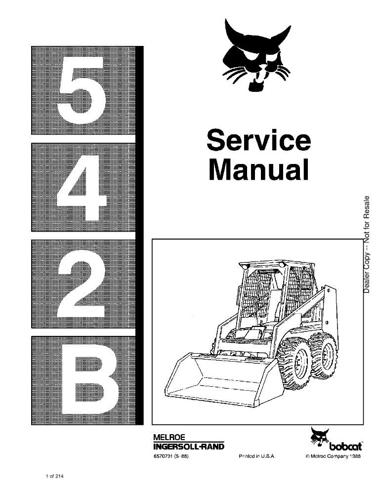 Bobcat 542B Skid Steer Service manual PDF Download