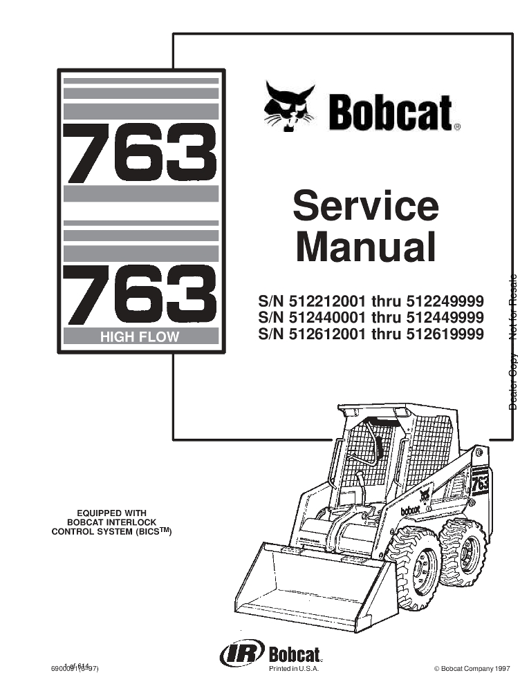 Bobcat 763 Skid Steer Service manual 6-97 PDF Download