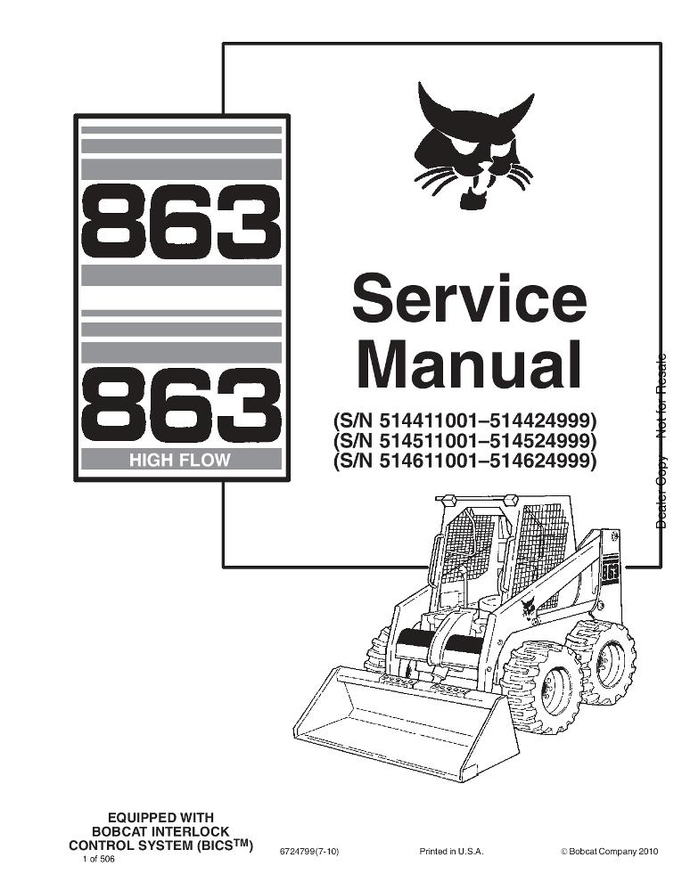 Bobcat 863 863H Skid Steer Service manual PDF Download