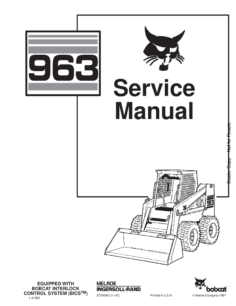 Bobcat 963 Skid Steer Service manual PDF Download