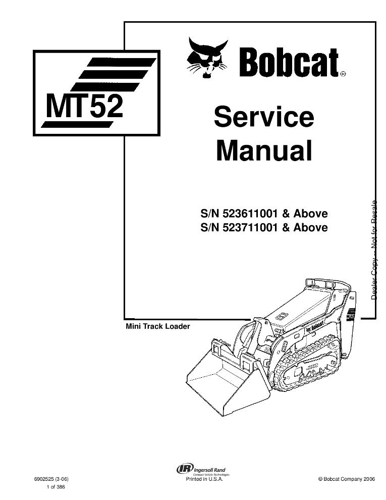 Bobcat MT52 Mini Track Loader Service manual PDF Download